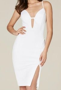 Bebe Mandi Deep V Criss Cross White Midi Dress